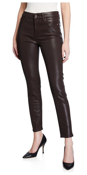 Jen7 Coated Ankle Skinny Jeans in chocolate