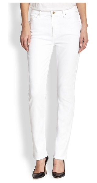 Jen7 mid-rise slim straight jeans in white