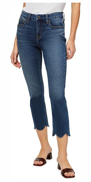 Jen7 Straight-Leg Cropped Jeans with Scalloped Hem in quincy