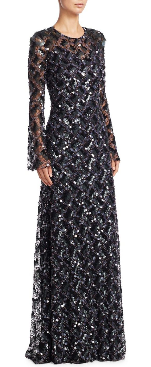 JENNY PACKHAM beaded sequin gown in black - Sequin embellished gown with radiant beaded trim....
