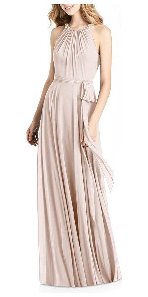 JENNY PACKHAM beaded strap chiffon gown in blush - Luscious chiffon envelops this floor-length gown, while...