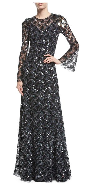 Jenny Packham Long-Sleeve Paillette-Embellished Gown in black - Jenny Packham geometric paillette-embellished gown....
