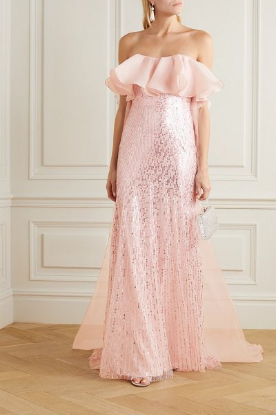 Jenny Packham marguerite strapless ruffled organza and sequin-embellished tulle gown in pastel pink