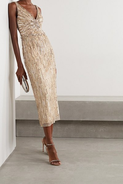 Jenny Packham meredith embellished tulle midi dress in gold
