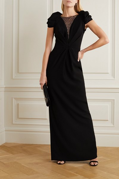 Jenny Packham noe embellished tulle and crepe gown in black