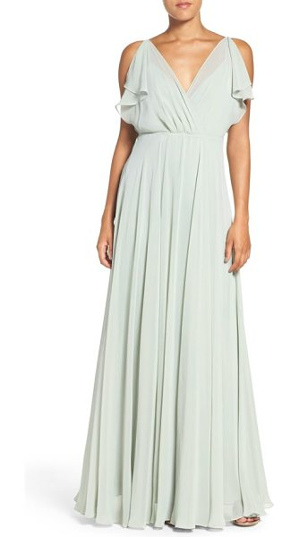 Jenny Yoo cassie flutter sleeve chiffon a-line gown in morning mist - Fluttery panels drape the shoulders to cap off the...