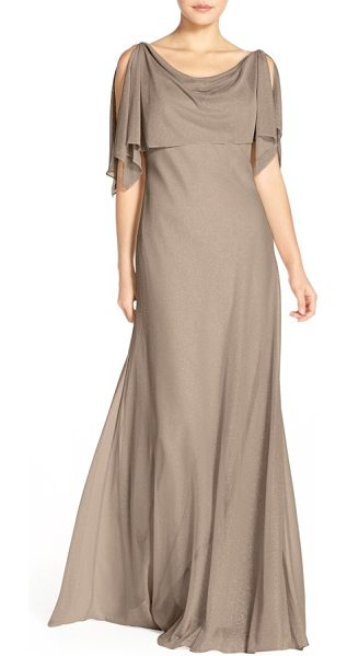 Jenny Yoo devon glitter knit gown with detachable capelet in taupe