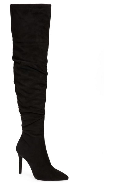 Jessica Simpson lyrelle pointy toe slouchy knee high boot in black faux leather