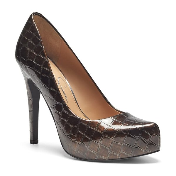 Jessica Simpson parisah platform pump in brown faux leather