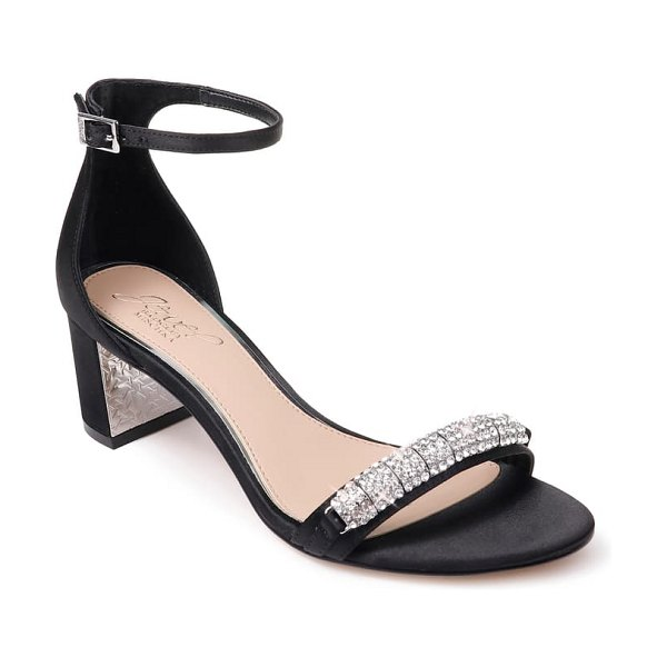 JEWEL BADGLEY MISCHKA ramsay ankle strap sandal in black satin