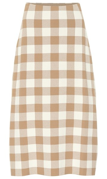 Jil Sander Checked knit midi skirt in beige - Jil Sander has revised the classic checkerboard pattern...