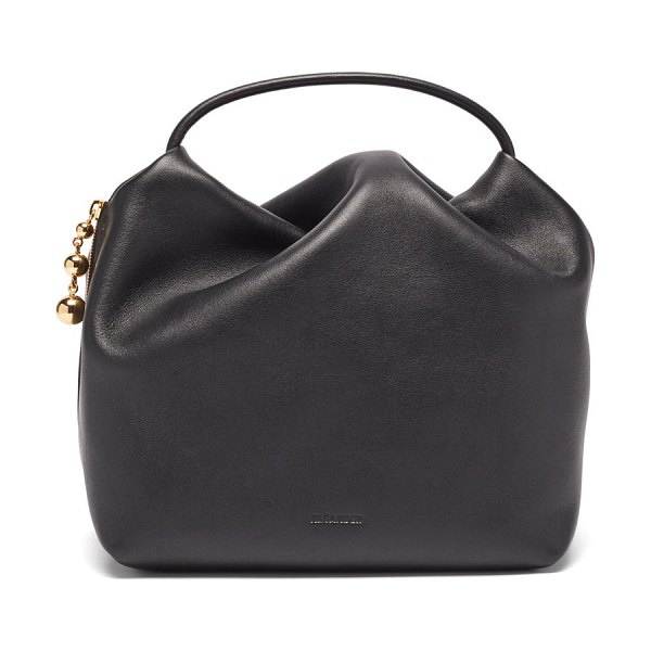 Jil Sander gathered small leather clutch bag in black