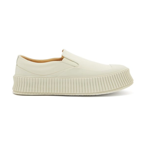 Jil Sander ribbed-sole slip-on leather trainers in white