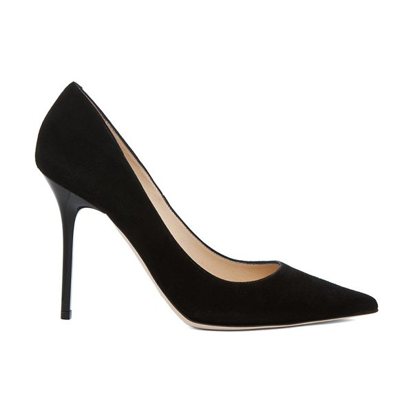 JIMMY CHOO Abel 100 Suede Pumps in black - Suede upper and sole.  Made in Italy.  Approx 110mm/ 4.3...