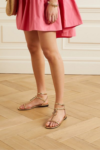Jimmy Choo alodie logo-embellished metallic leather sandals in gold