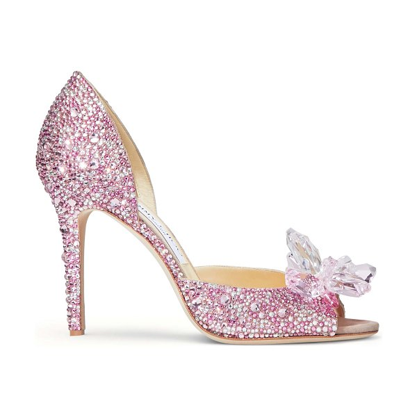 Jimmy Choo ANILLA 100 Rose Mix Suede and Crystal Covered Open Toe Pumps in rose mix