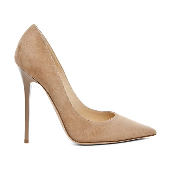 Jimmy Choo Anouk 120 Suede Pumps in neutrals - Suede upper and leather sole.  Made in Italy.  Approx...