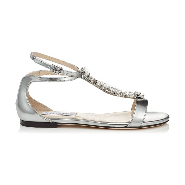 d557eb3bb676 Jimmy Choo Averie Flat Silver Liquid Mirror Sandals With Silver ...
