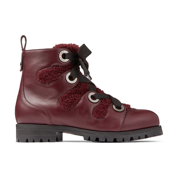Jimmy Choo BEI FLAT Bordeaux Smooth Leather Ankle Boots with Shearling Lining and Metal Eyelets in bordeaux/bordeaux