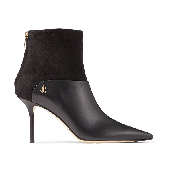 Jimmy Choo BEYLA 85 Black Calf Leather and Suede Ankle Booties with JC Button Detailing in black/black