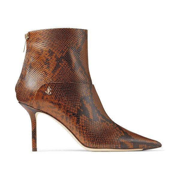 Jimmy Choo BEYLA 85 Cuoio Snake Printed Leather Ankle Booties with JC Button Detailing in cuoio