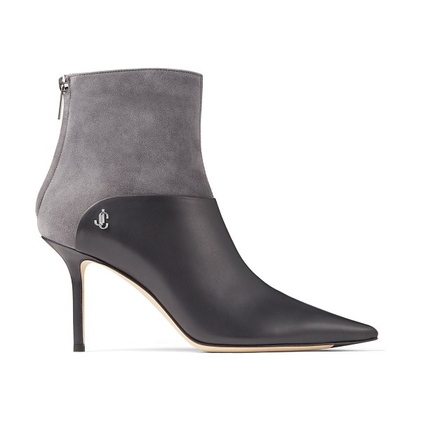 Jimmy Choo BEYLA 85 Dusk Calf Leather and Suede Ankle Booties with JC Button Detailing in dusk/dusk