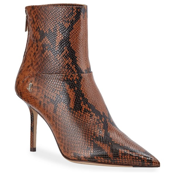 Jimmy Choo Beyla Snake-Print Booties in beige