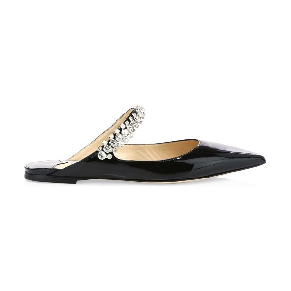 Jimmy Choo bing embellished patent leather flat mules in black