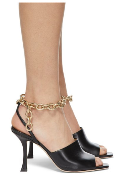 Jimmy Choo black sae 90 sandals in black,gold