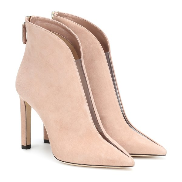 Jimmy Choo Bowie 100 suede ankle boots in pink - Take a stylish step forward in the Bowie 100 ankle boots...