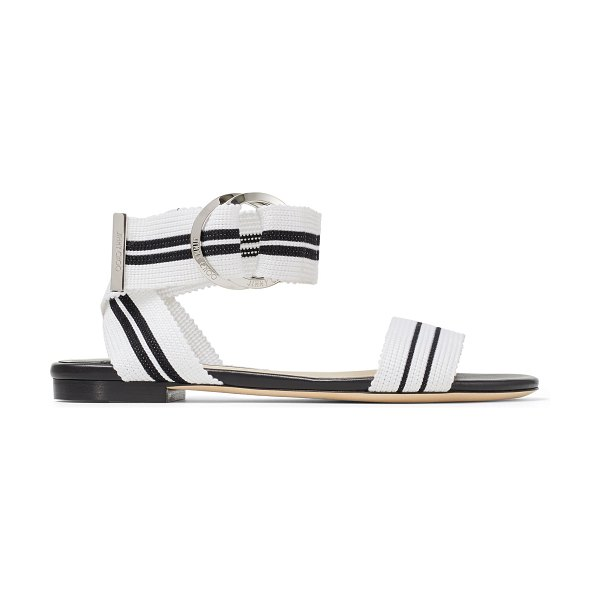 Jimmy Choo BREANNE FLAT White Mix Nappa Leather and Tape Flat Sandal in white mix