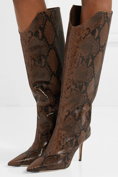 Jimmy Choo brelan 85 snake-effect leather knee boots in snake print