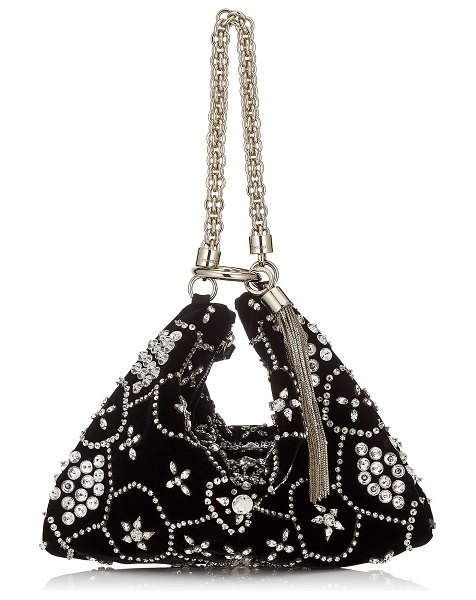 Jimmy Choo CALLIE Black Suede Clutch Bag with Star Crystal Embroidery in black - Elegant and timeless, Callie in black suede with star...