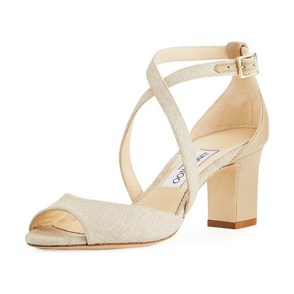 "JIMMY CHOO Carrie Canvas 65mm Sandal - Jimmy Choo canvas sandal with leather trim. 2.5"" covered..."