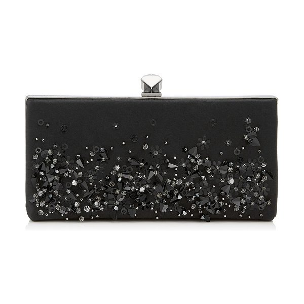 Jimmy Choo CELESTE/S Black Mix Satin Clutch Bag with Sequin Embroidery in black mix - The Celeste S is an irrefutably modern clutch bag,...