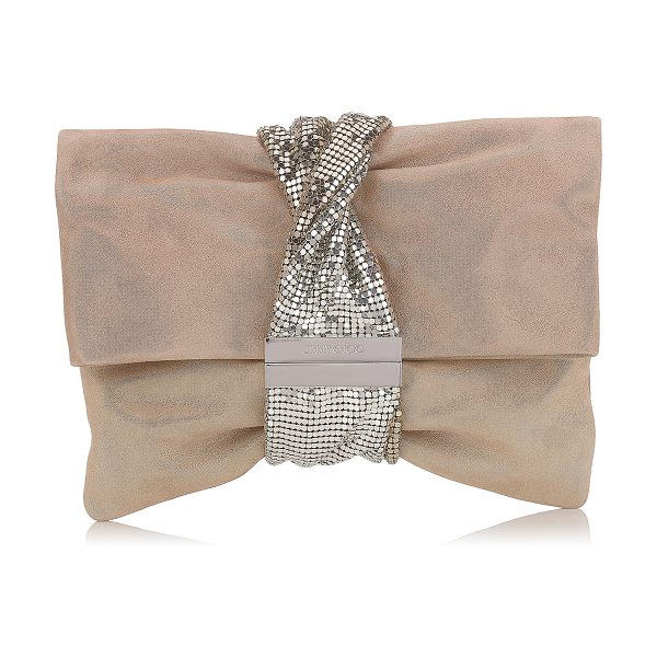 d9651598c1c JIMMY CHOO. Chandra/m Sand Shimmer Suede Clutch Bag With Chainmail Bracelet