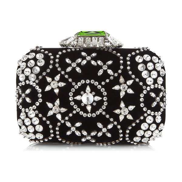 Jimmy Choo CLOUD Black Star Crystal Embroidered Clutch Bag with Crystal Clasp in black