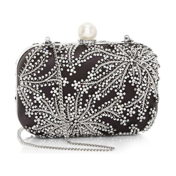 Jimmy Choo cloud crystal-embellished satin clutch in dusk