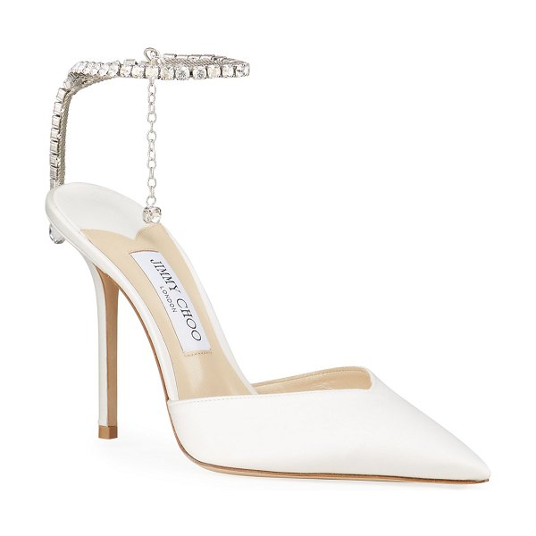 Jimmy Choo Crystal Charm 100mm Bridal Pumps in white