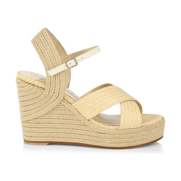 Jimmy Choo dellena espadrille platform wedge sandals in natural