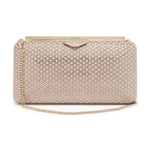 Jimmy Choo elipse crystal embellished suede clutch in light pink - Jimmy Choo - Sandra Choi elevates classic evening styles...