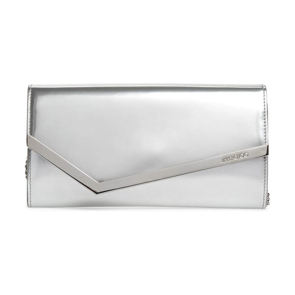 Jimmy Choo emmie metallic leather clutch in silver - Polished hardware amplifies the gleam of a metallic...