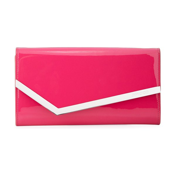 Jimmy Choo Emmie Patent Leather Clutch Bag in hot pink