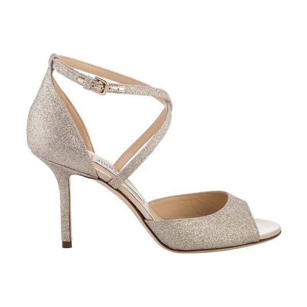 Jimmy Choo Emsy Glitter Crisscross Cocktail Sandals in silver