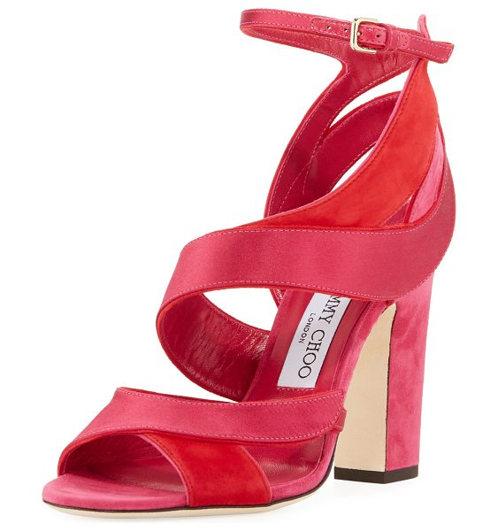 "JIMMY CHOO Falcon Mixed Satin/Suede Sandal - Jimmy Choo sandal in smooth satin and suede. 4"" covered..."