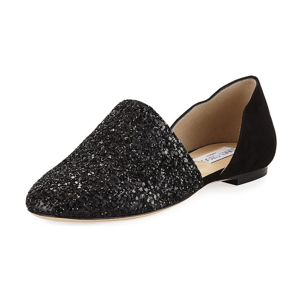 "Jimmy Choo Globe Crystal d'Orsay Flat in black - Jimmy Choo ""Globe"" flat in glitter and suede. Flat..."