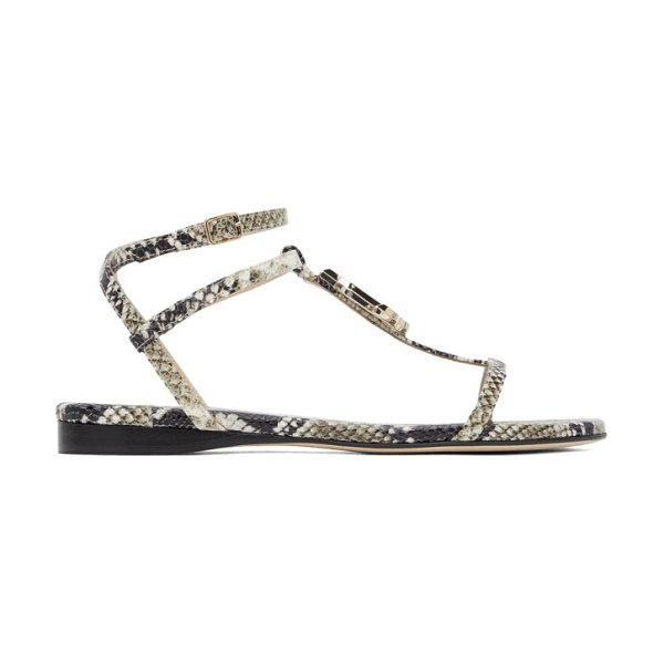 Jimmy Choo grey snake alodie flat sandals in roccia