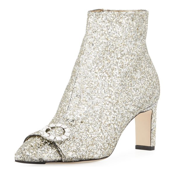 JIMMY CHOO Hanover Glitter 65mm Bootie - Jimmy Choo glitter fabric bootie with...