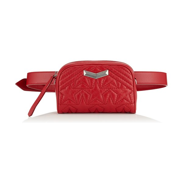 Jimmy Choo HELIA CAMERA BAG Red Star Matelassé Nappa Leather Camera Bag with Embossed Stars in red - Embodying this season's key themes, the Helia Camera Bag...
