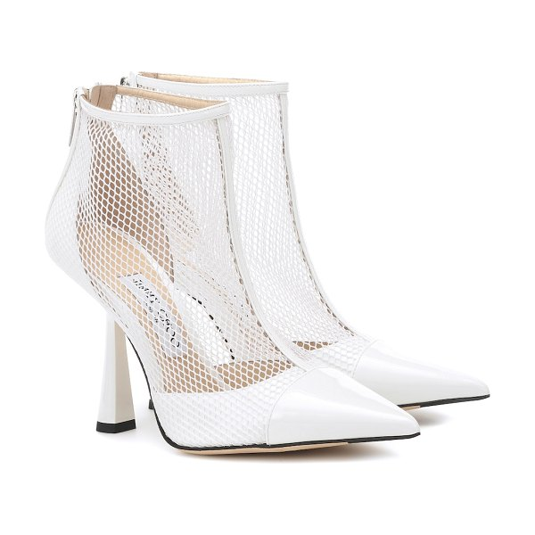 Jimmy Choo kix 100 leather and mesh ankle boots in white